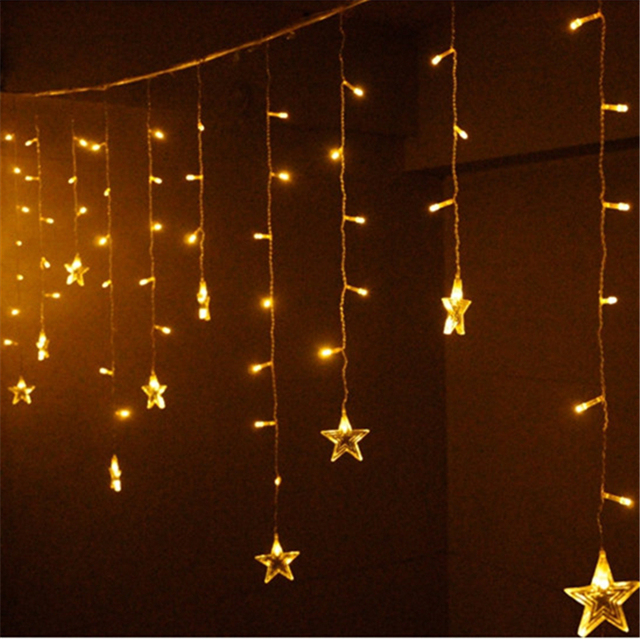 Led Light Copper Wire String Lights Star Fairy Light Curtain Icicle Stripe  wedding Decoration Lamps for
