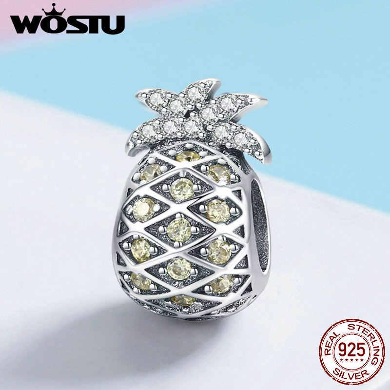 WOSTU oryginalna 100% 925 Sterling Silver lato ananas koraliki Fit Charm bransoletka i naszyjnik wisiorek świeże biżuteria srebrna FIC936