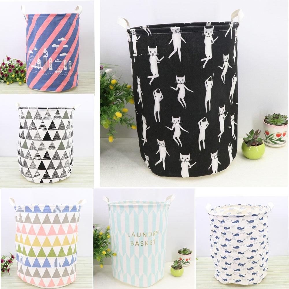 Large Laundry Basket Waterproof Canvas Storage Basket Organizer Folding Space Saving Housekeeper Clothing Bag For Toys dec22