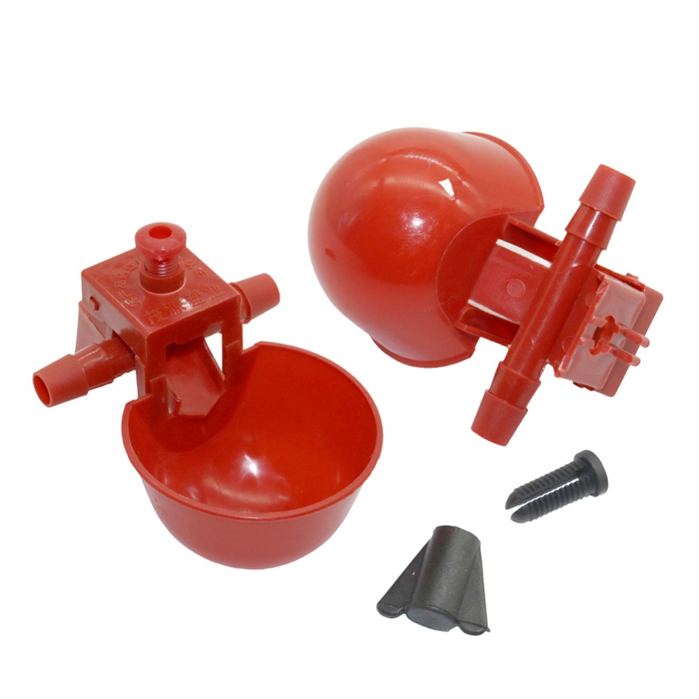 5 Pcs Chicken Drinking Cups Quail Waterer Bowls Bird Red Glass Animal Husbandry Tools Automatic Bird Coop Feeder Drinking Cups