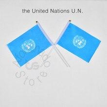 Onu bandeira das nações unidas 14*21cm mão acenando bandeira nacional decoração para casa bandeira bandeira