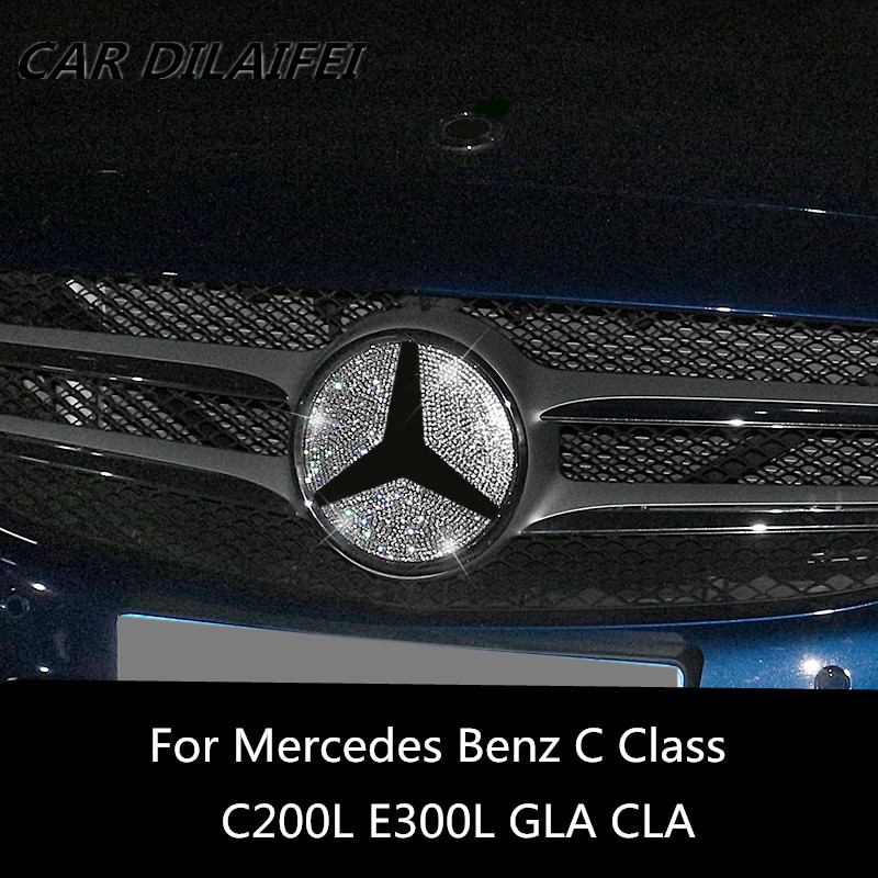 Car front logo decorative cover sticker For Mercedes Benz GLC X253 C W205 E Class W213