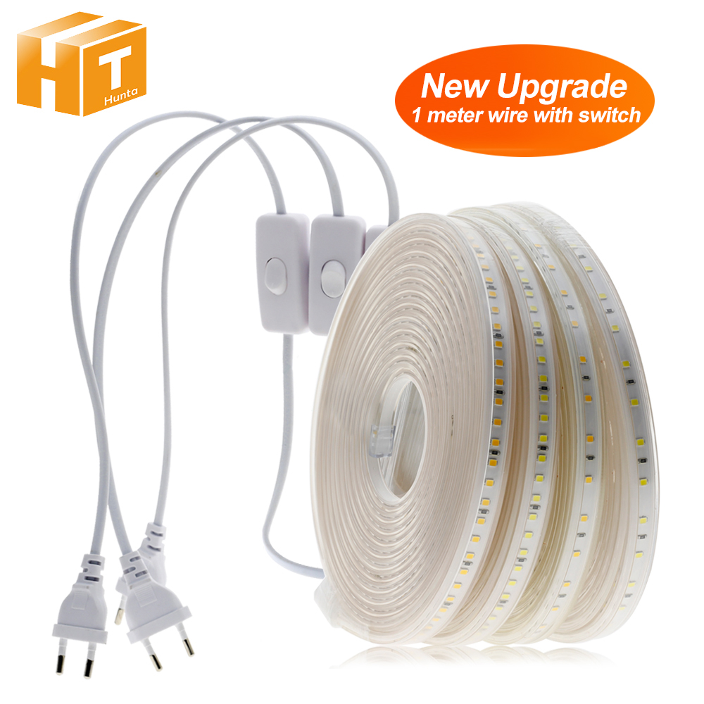 220V LED Strip 2835 High Safety High Brightness 8W/m 16W/m Flexible LED Light Outdoor Waterproof LED Strip Light.