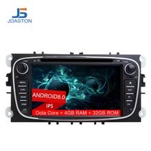 JDASTON Android 8,0 2 Дин радио для FORD FOCUS MONDEO S-MAX C-MAX Kuga радио gps автомобильный мультимедийный плеер Wi-Fi Canbus 4 Гб оперативная память