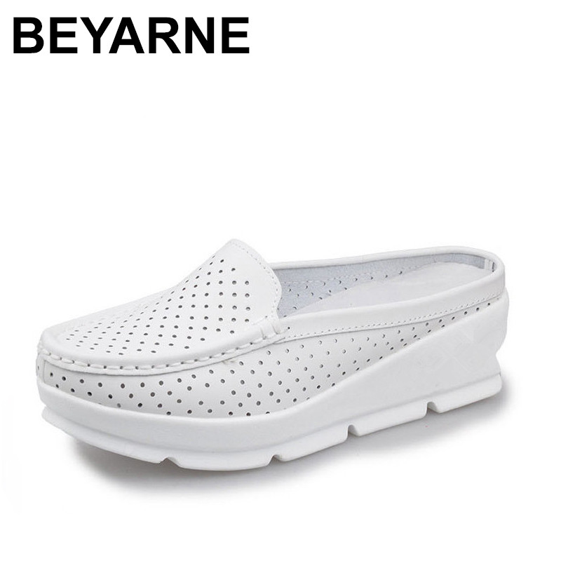 BEYARNE Summer Cow Leather Casual Woman Sandals Handmade Soft Wedges Shoes Closed Toe Non-Slip Breathable Sandals new women sandals low heel wedges summer casual single shoes woman sandal fashion soft sandals free shipping