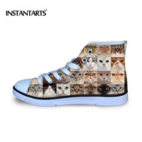 INSTANTARTS Kids Flat Shoes Animal Cat Dog Puzzle Print Children Classic Canvas Shoes Girls Boys Fashion High Top Vulcanize Shoe