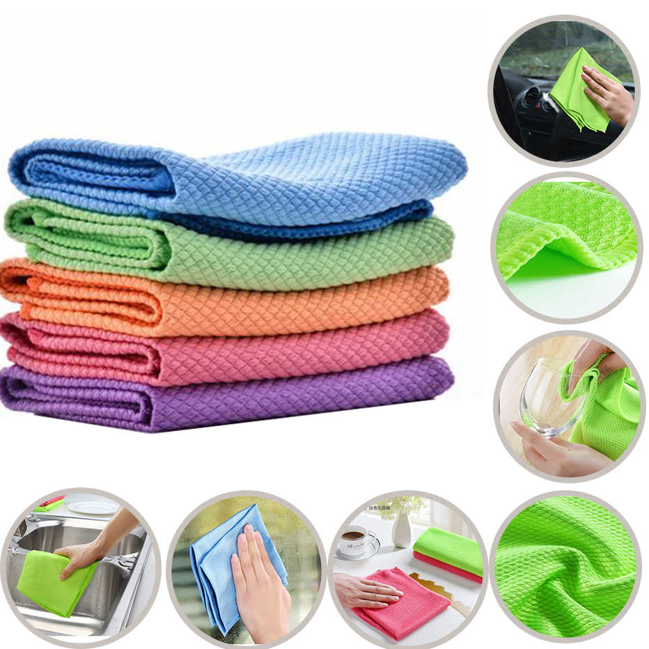 KHGDNOR Soft Microfiber Cleaning Towel Absorbable Glass Kitchen Cleaning Cloth Wipes Table Window Car Dish Towel Rag