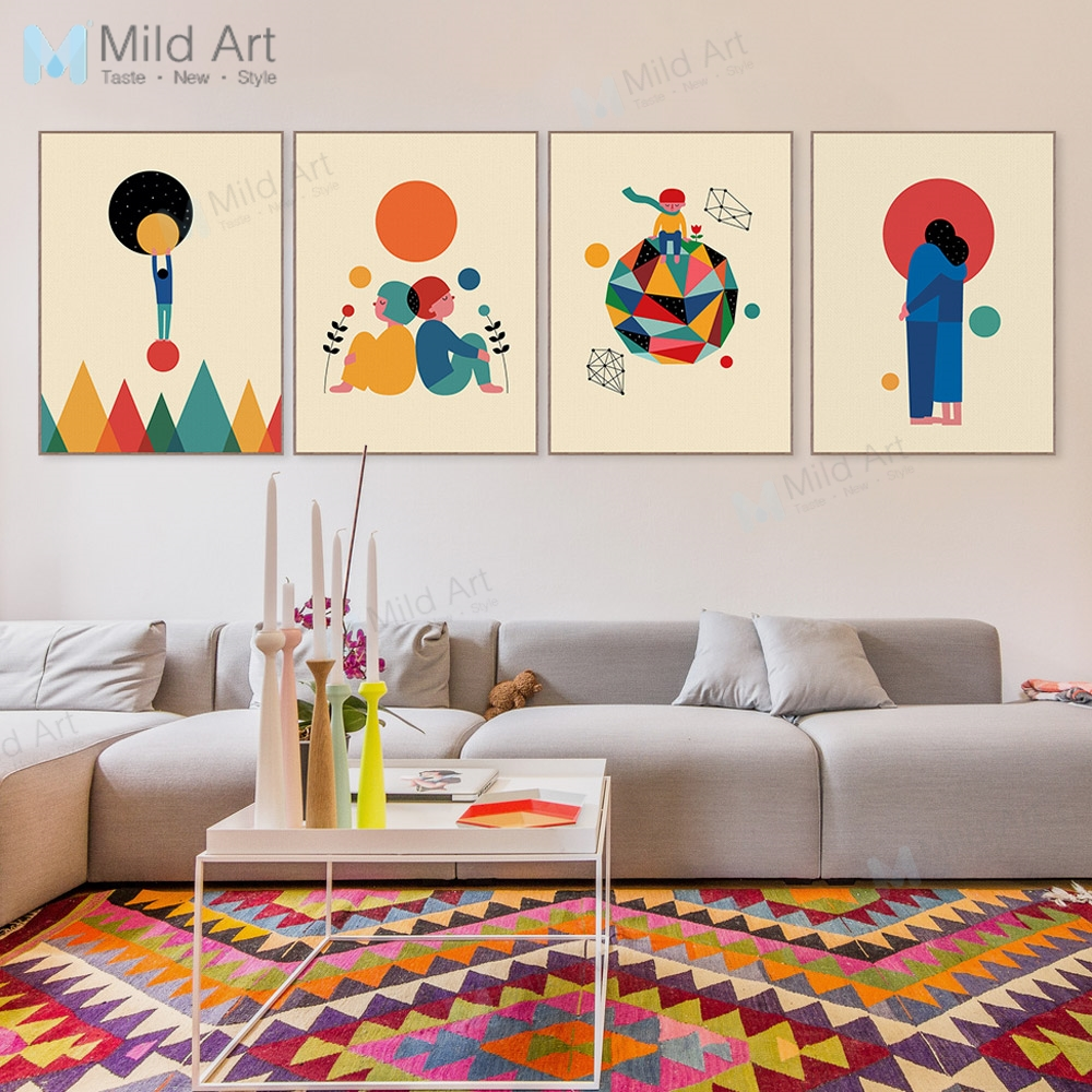 Modern Childrens Room With Colourful Wall Art: Modern Abstract Geometric Colorful Sun Mountain Love