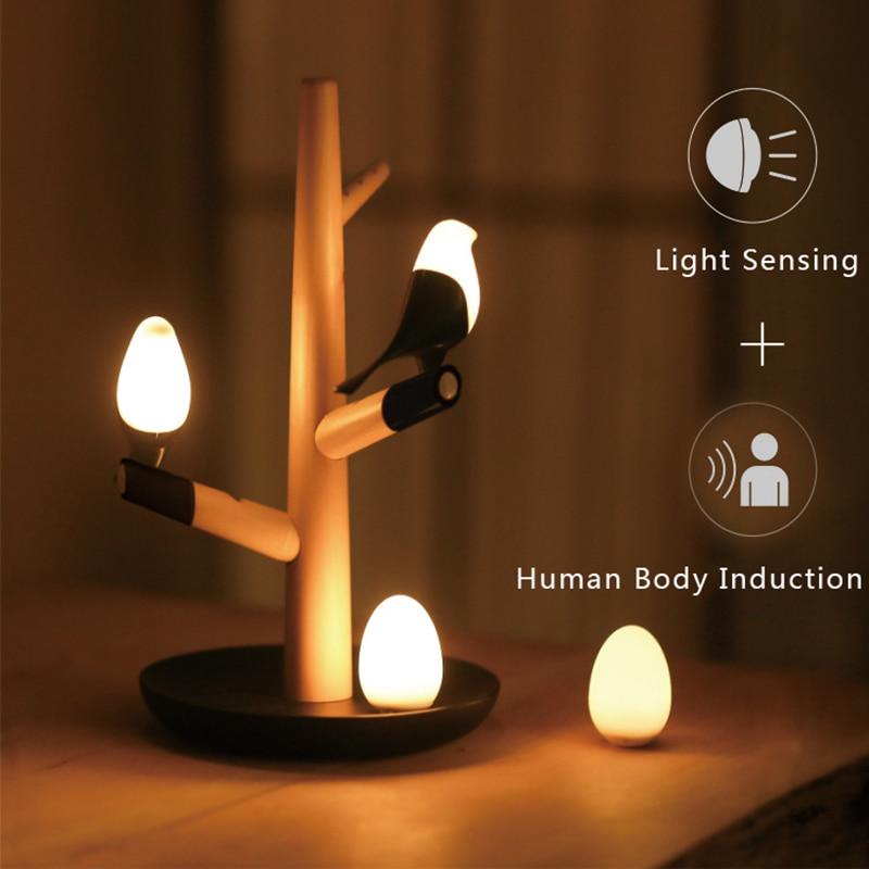 Magpie Bird USB Charger Night Light Intellignet Vibration Induction LED Desk Lamp Small Eggs LED Light Home Decor Art Product tw l0504 bird night light yellow