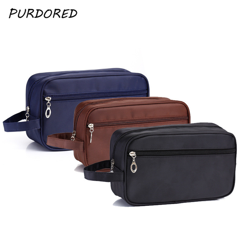 PURDORED 1 Pc Men Washing Bag Nylon Waterproof  Cosmetic Bag Travel Portable Toiletry Bag Men Wash Bag Dropshipping
