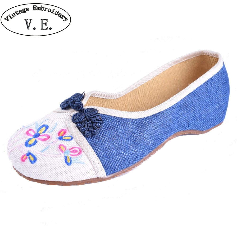Women Flats Shoes National Ladies Old Peking Flower Embroidery Soft Sole Casual Slip On Dance Ballet Shoes Woman vintage women flats old beijing mary jane casual flower embroidered cloth soft canvas dance ballet shoes woman zapatos de mujer