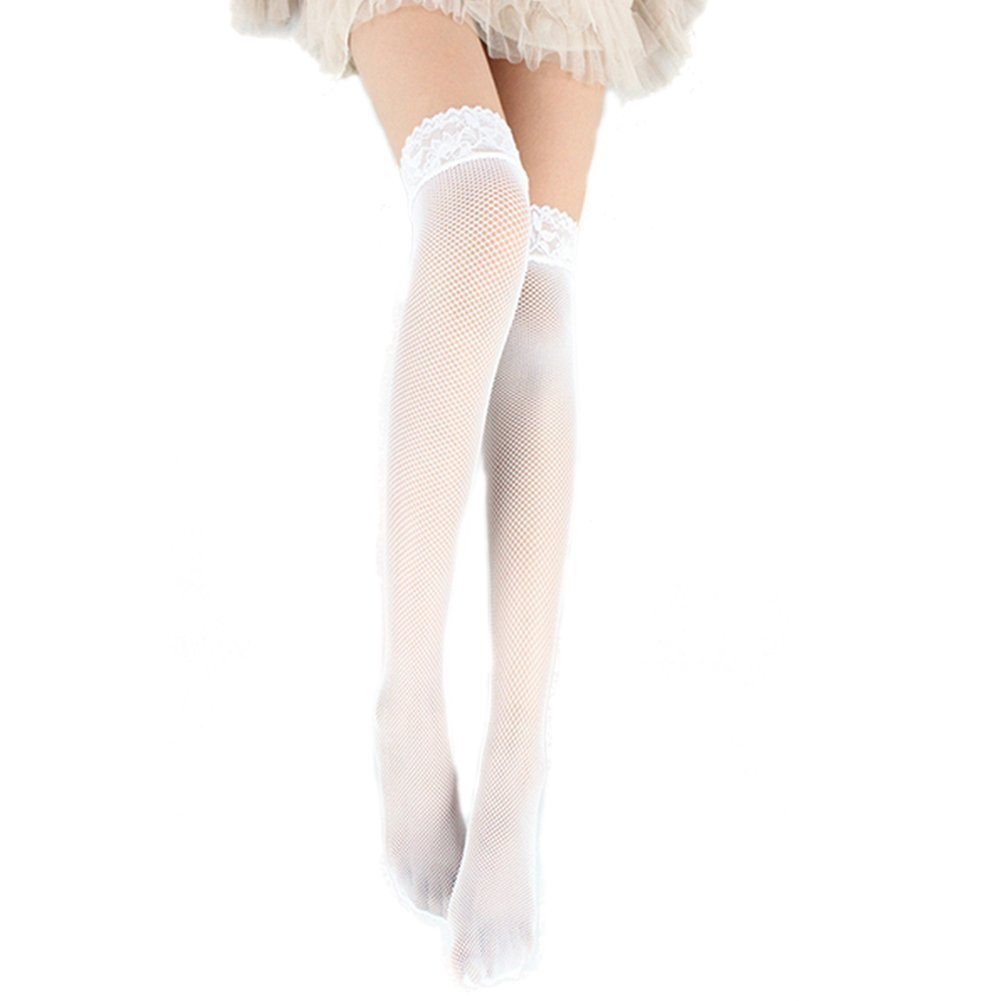 Women Stockings Lace Hollow Fishnet Thigh High Stockings  White