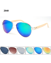 (60pcs/lot) New Aviator Bamboo Sunglasses with metal hinge