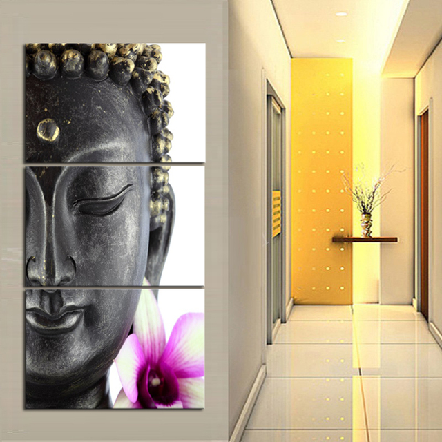 Calm Purple Buddha Statue With White And Purple Flower Wall Art ...