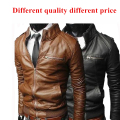 Hot sell witer Men's thick Collar slim fashion PU leather motorcycle jacket slim leather windproof jacket male