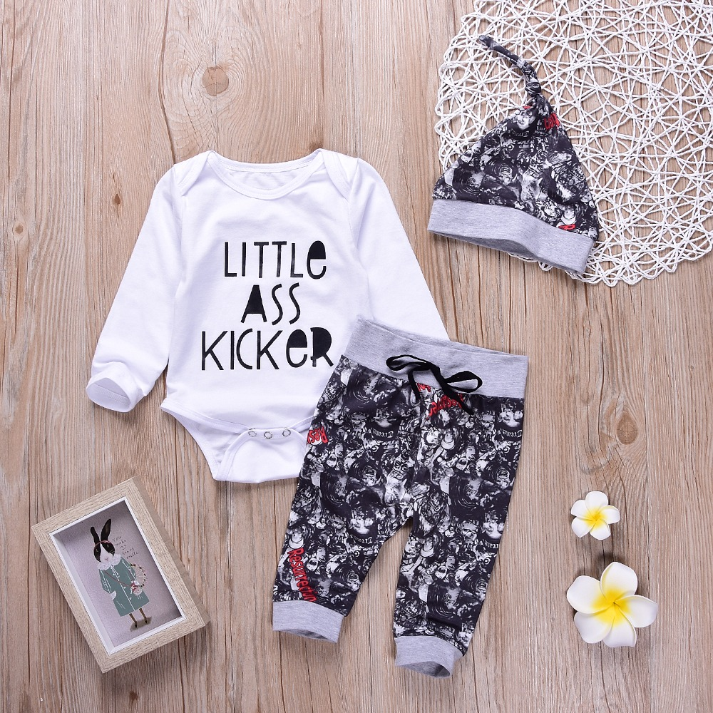 Mikrdoo Pcs Fashion Baby Clothes Newborn Infant Kids Boys Little Ass Kicker Letter Romper Tops Print Skull Pants Hat Outfits In Clothing Sets From Mother