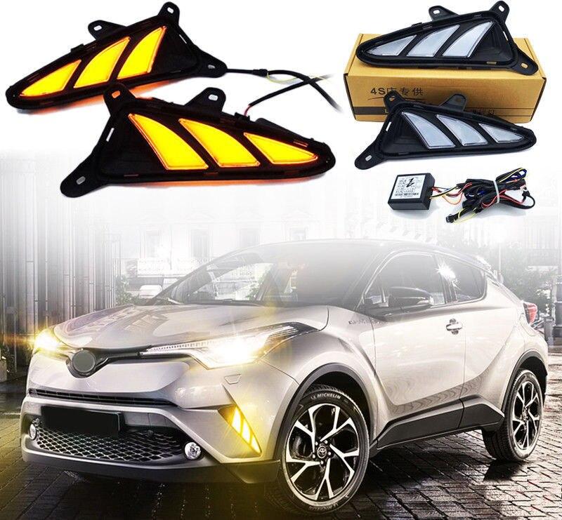 1 Set Front Bumper Side Grille LED DRLs Lamp For Toyota C-HR CHR 2016-2018