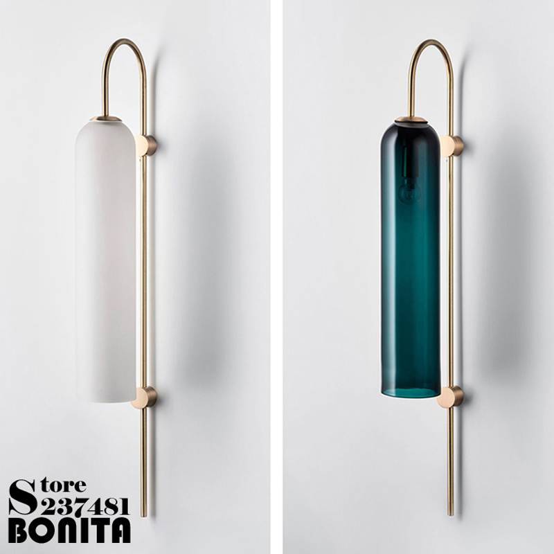 Nordic postmodern design sconces light Simple strip glass modern wall lamp Ins wind blue white gray glass wall lights for homeNordic postmodern design sconces light Simple strip glass modern wall lamp Ins wind blue white gray glass wall lights for home