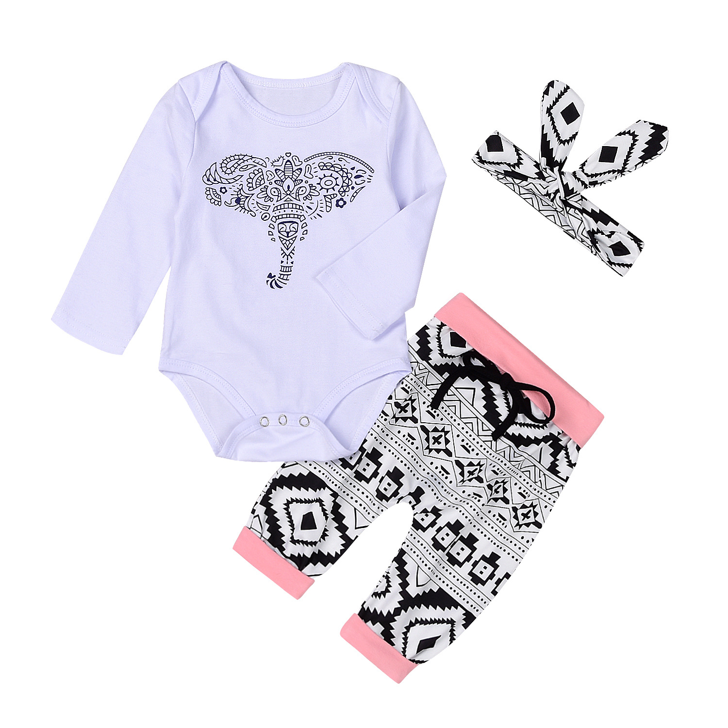 Fashion Baby Girls Clothes White Cotton Baby Romper Pants Set Cartoon Elephant Newborn Outfits European Infant Set