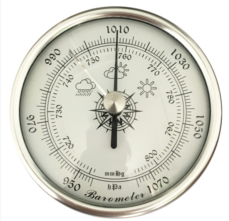 High Precision Analog Aneroid Barometer 72mm Diameter Round Fishing Barometer With PE Rubber