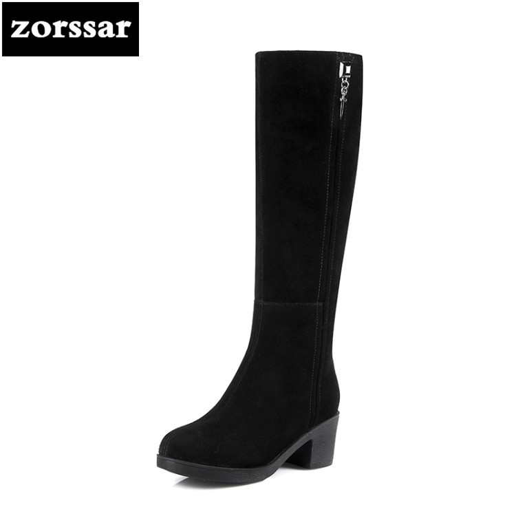 {Zorssar} 2019 New Winter Plush Snow boots Fashion Woman Thigh High Boots Suede Leather Women Knee High boots High heels
