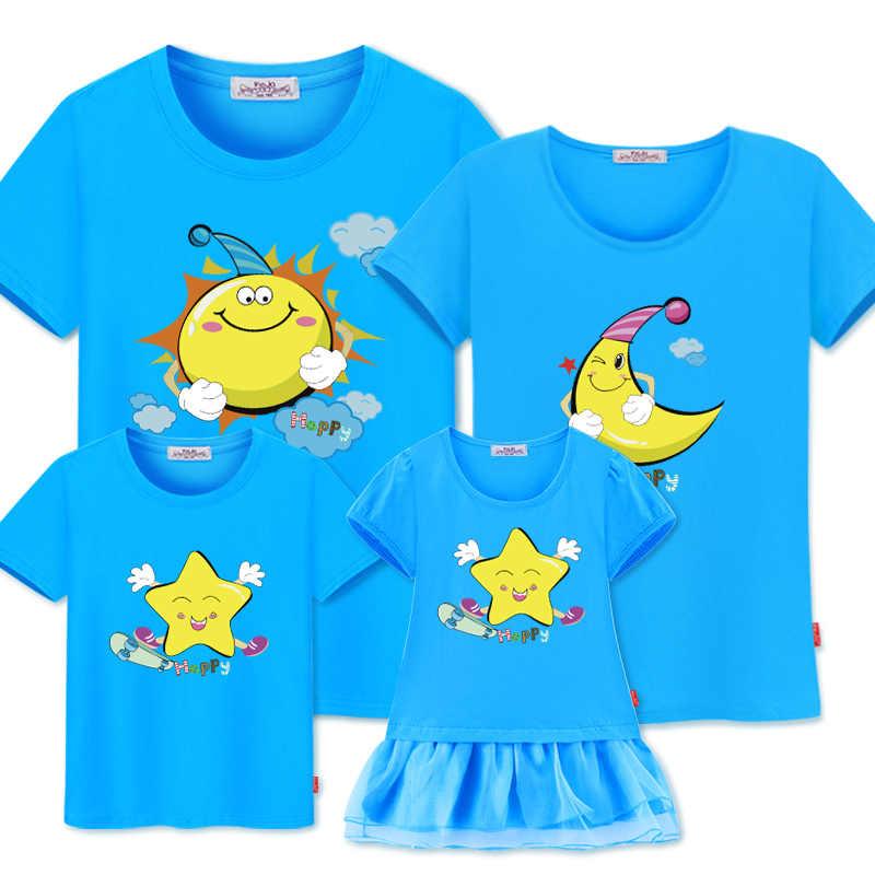 Tシャツのための家族の父息子母娘女の赤ちゃんの男の子ドレスカップル衣装日月スター子供マッチング家族衣装