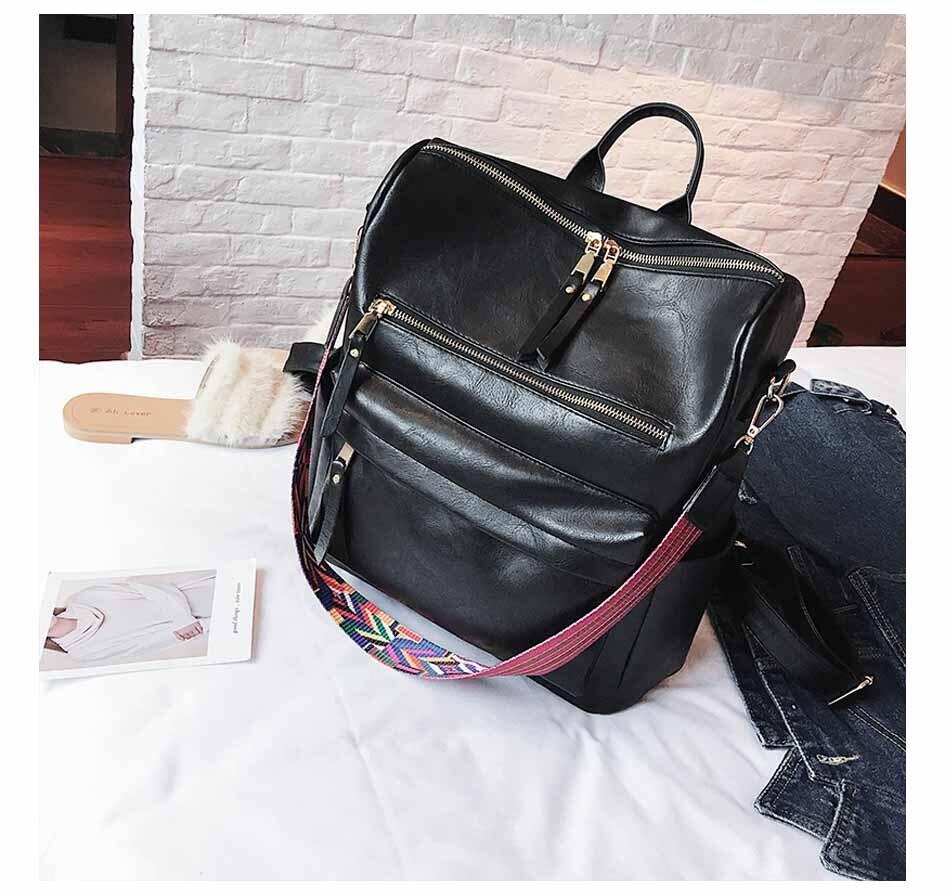 HTB1nYVFnRfH8KJjy1Xbq6zLdXXaX Leather Backpack Women 2019 Students School Bag Large Backpacks Multifunction Travel Bags Mochila Pink Vintage Back Pack XA529H