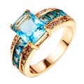 New Fashion Unisex Jewelry Water Blue Stone Ring Yellow Gold Filled Copper Engagement Ring For Women R004YBA