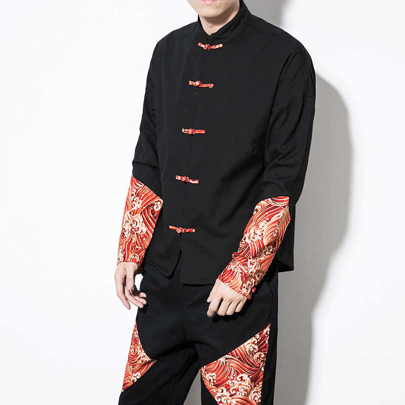 Китайская традиционная одежда Одежда Кунг-фу Cheongsam рубашка с длинными рукавами для мужчин китайский костюм Тан для мужчин s Мужской Топ Ouwear