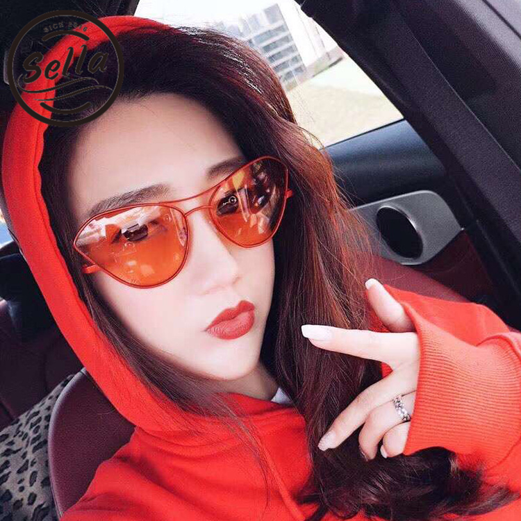 Sella New Arrival Trending Ladies Cateye Gradient/Red Lens Sunglasses Summer Fashion Alloy Frame Colorful Sun Glasses Eyewear