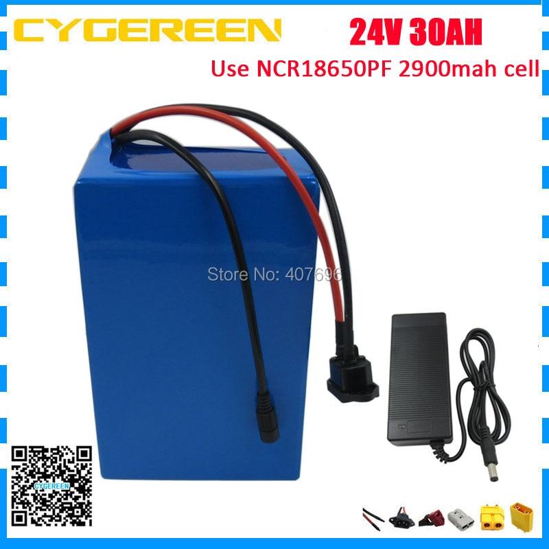 1000W 24V 30AH Elektrisk BIKE litiumbatteripakke 24V30AH scooter e-cykelbatteri brug NCR PF 2900mah celle med 50A BMS 3A oplader