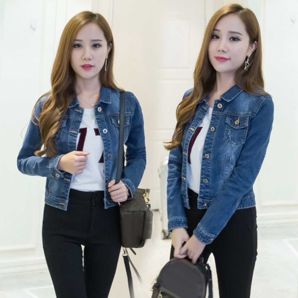 HTB1nYVVaHj1gK0jSZFuq6ArHpXae Women Short Jeans Jacket Slim Turn Down Collar Long Sleeve Button Denim Outwear New Chic Vintage