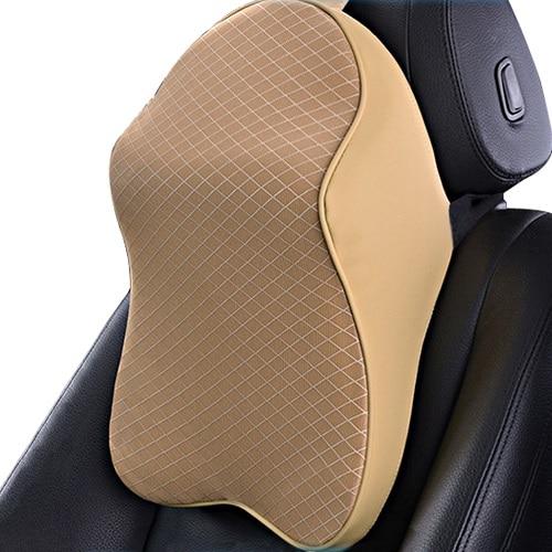 Автомобильная подушка для шеи с эффектом памяти подголовник поддержка s многофункциональная подушка для шеи и поясничная поддержка для автомобиля облегчение боли в шее головы - Цвет: beige