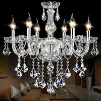 DX Clear Crystal LED Chandelier Modern Lighting Living Room Chandeliers Bedroom Ceiling Luminaire Silver Chrome White Luster