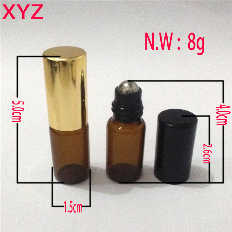 XYZ (100pieces/lot) 1ML 2ML 3ML 5ML Glass Roll on Bottle with Stainless Steel Roller Small Essential Oil Roller-on Sample Bottle
