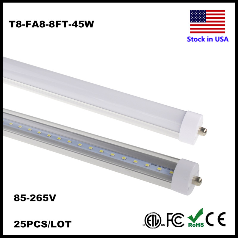 Stock In US! T8 LED Tube 8FT Single Pin FA8 Base Fluorescent Lamp Shop Lights Work without ballast Dual-Ended Power Tube Light free shipping led tube t8 bulb 8ft 40w 110 277vac r17d converter replace ho fluorescent lamp light