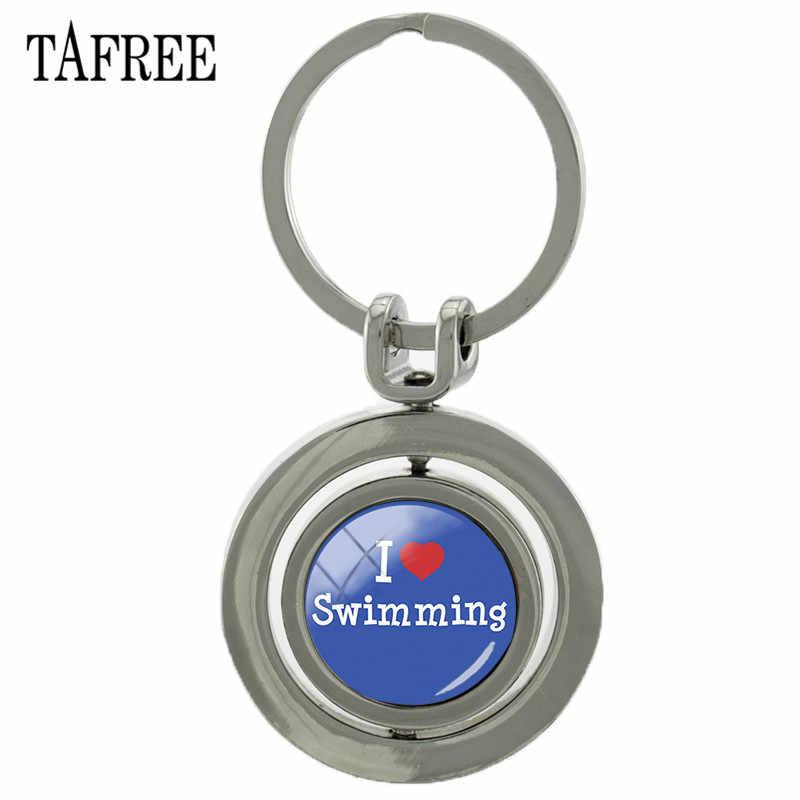 TAFREE вращающийся I Love брелок с плаваньем с двойными бортами стеклянный кабошон Вращающийся брелок держатель Sp416