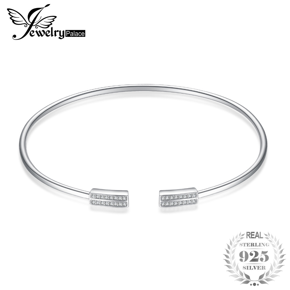 JewelryPalace 925 Sterling Silver Minimalist Cubic Zirconia Adjustable Cuff Bracelet Gifts For Women & Gilrs Fashion Jewelry delicate silver cuff bracelet for women page 1