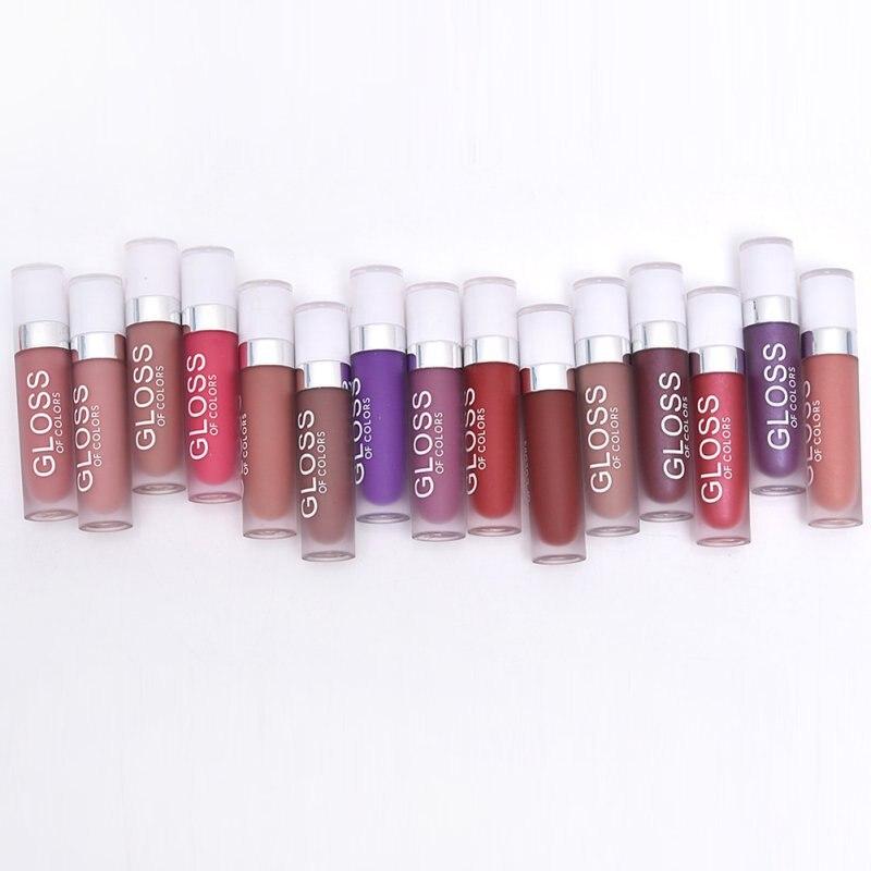 15 Colores Brillo De Labios Mate Lápiz Labial Lipgloss Impermeable Maquillaje Lápiz Labial de Larga Duración