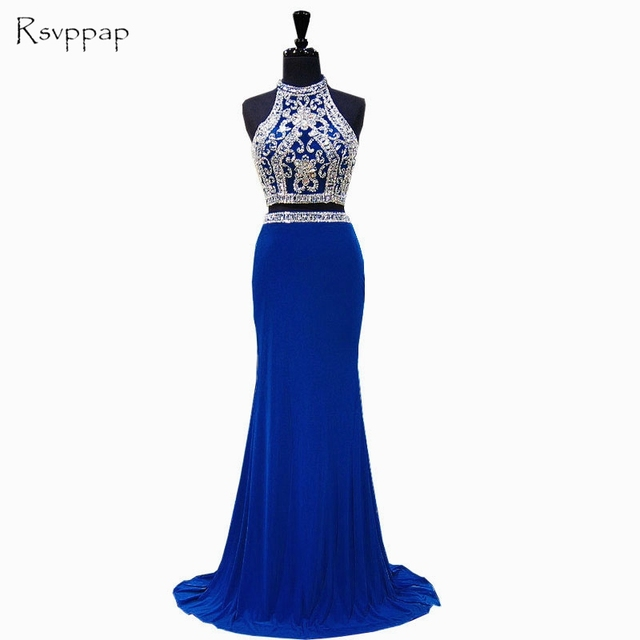 ad855d325a7a9 US $161.19 19% OFF|Long Prom Dresses 2019 Gorgeous Mermaid High Neck Beaded  Crystals Floor Length Royal Blue African 2 Piece Prom Dress-in Prom ...