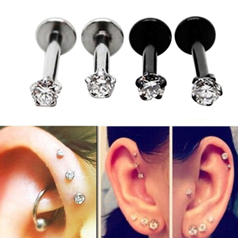 f3c143289 Detail Feedback Questions about MODEBOX 4 6Pairs Stainless Steel Earrings  Round CZ Barbell Tragus Cartilage Forward Earrings Helix Earrings Piercings  on ...