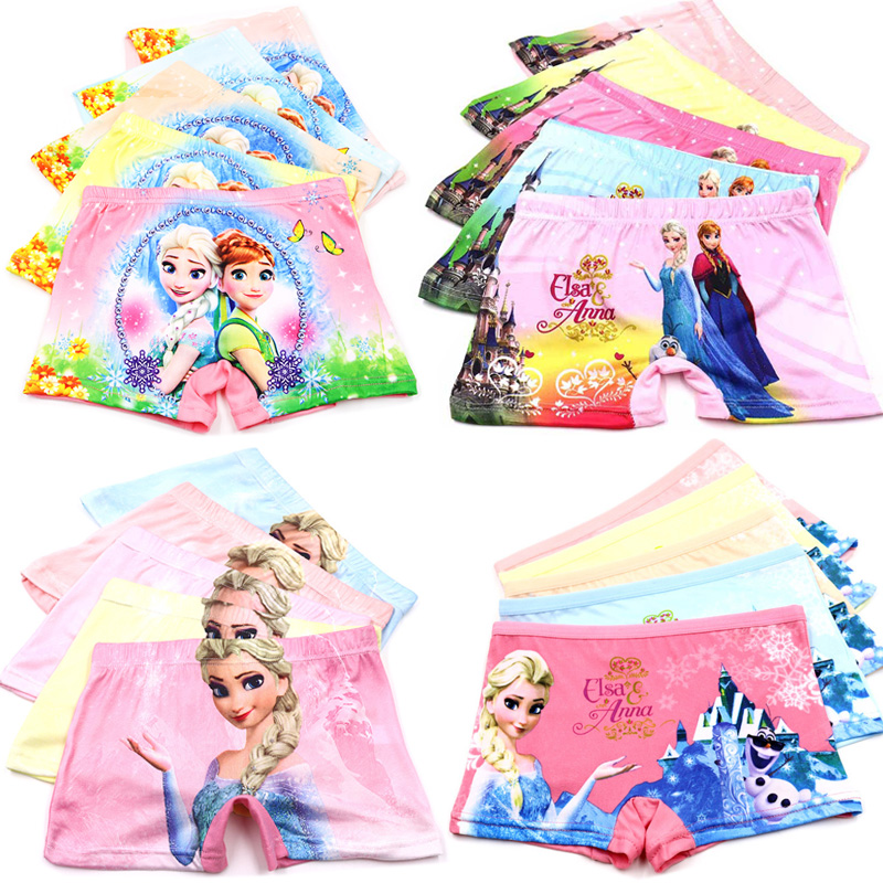 5pcs/lot 3D Print Anna Elsa Olaf Cartoon Baby Girl Underwear Kids   Panties   Child's Underpants Shorts for Nurseries Briefs
