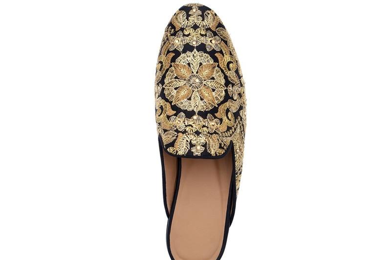 Ouro Pic Luxo On Homens Casual Sapatos As Slip Masculinos Cristal Moda Mulas Chinelos 2019 Bordado Qianruiti Planas De Embelezado Loafers HtwOIqgg