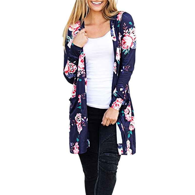 New Autumn Long Cardigan Women Full Sleeve Outerwear Fashion Floral Printed Loose Female Ladies Cardigan Coat Mujer Plus Size
