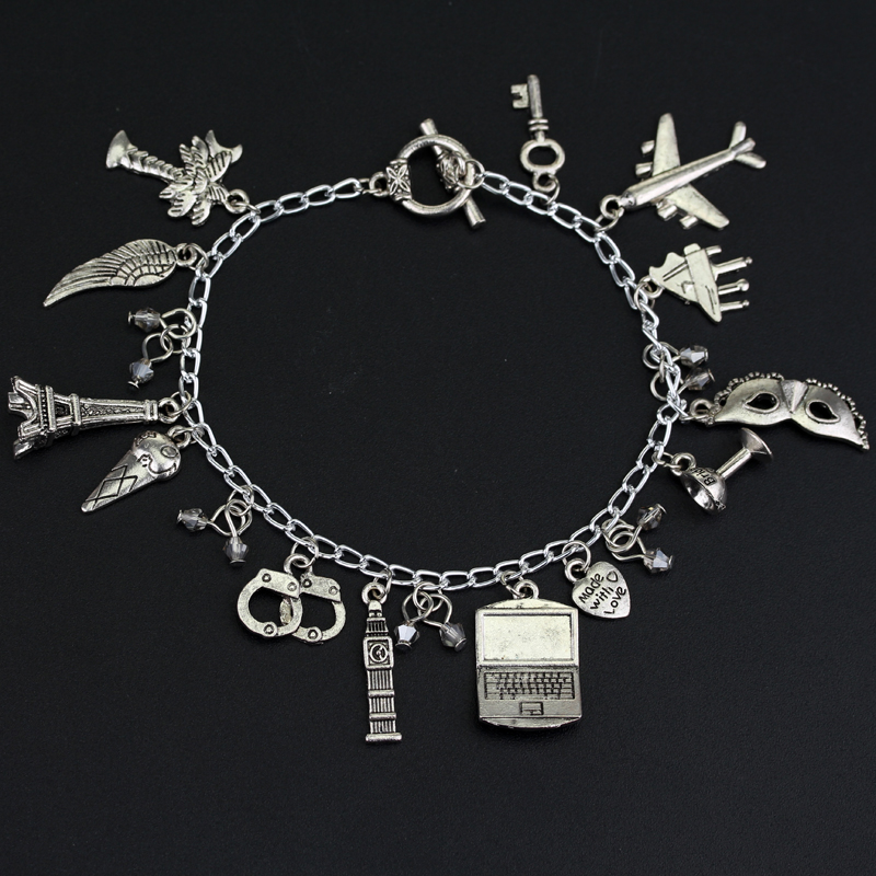 MQCHUN Movie Fifty Shades of Grey Charm Bracelets Mask Handcuff Pendants Bangles Women Cosplay Link Chain Bracelet Accessories