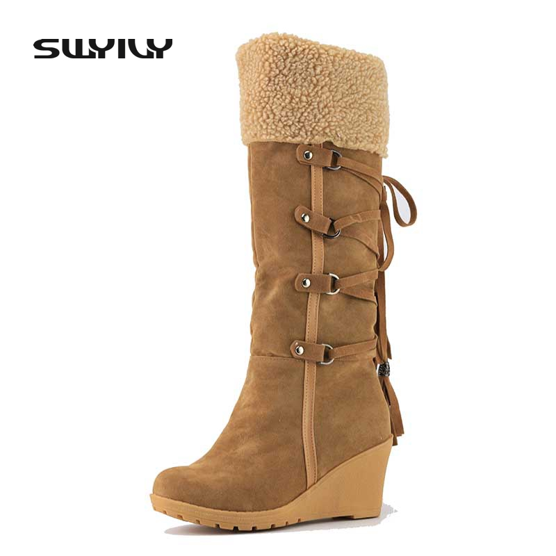 Women's Boots High Boot Slip-resistant Wedges Winter Shoes Snow Boot Knee High Boots Women Platform Lady Shoes Warm Winter thigh high over the knee snow boots womens winter warm fur shoes women solid color casual waterproof non slip plush wedges botas
