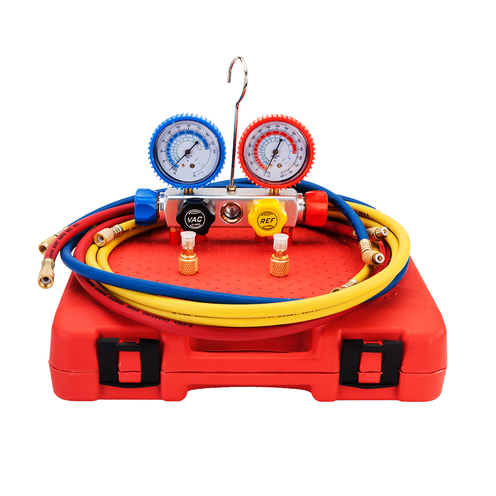 New Durable R410 R134 R22 R407C Dual Manifold Gauges Valve Set with Black Plastic Case Red & Yellow & Blue & BlaNew Durable R410 R134 R22 R407C Dual Manifold Gauges Valve Set with Black Plastic Case Red & Yellow & Blue & Bla