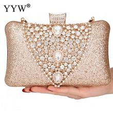 Gold Silver Evening Bags And Clutches For Women Crystal Clutch Beaded Rhinestone Purse Wedding Party Handbag Pochette Femme Sac fan shaped blue crystal evening bags with silver chain high quality luxury rhinestone beaded crystal clutch multi color clutches