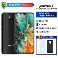 Ulefone power 6 Smartphone Android 9.0 Helio P35 Octa core 6350mah 6.3 4GB 64 GB 16MP face ID NFC 4G LTE Global Mobile Phones