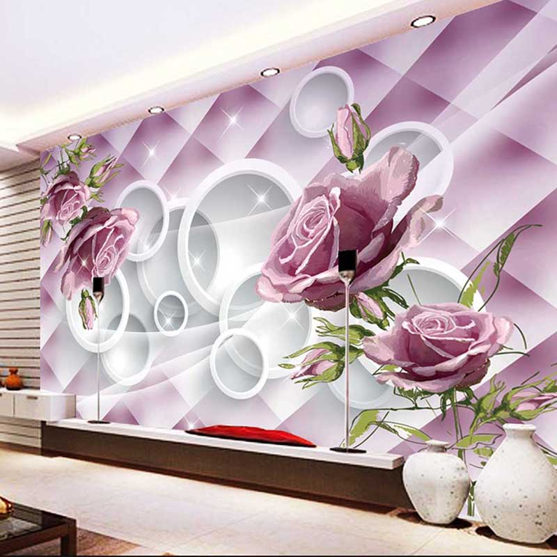 Photo customize size 3d rose flowers mural wallpaper - What size tv to get for living room ...